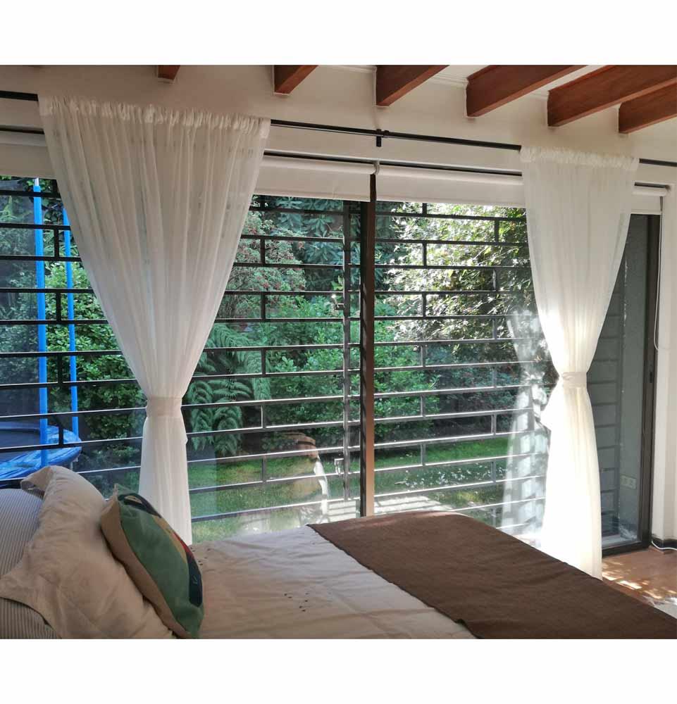 cortina en barra velo algodon para dormitorio violeta decoraciones