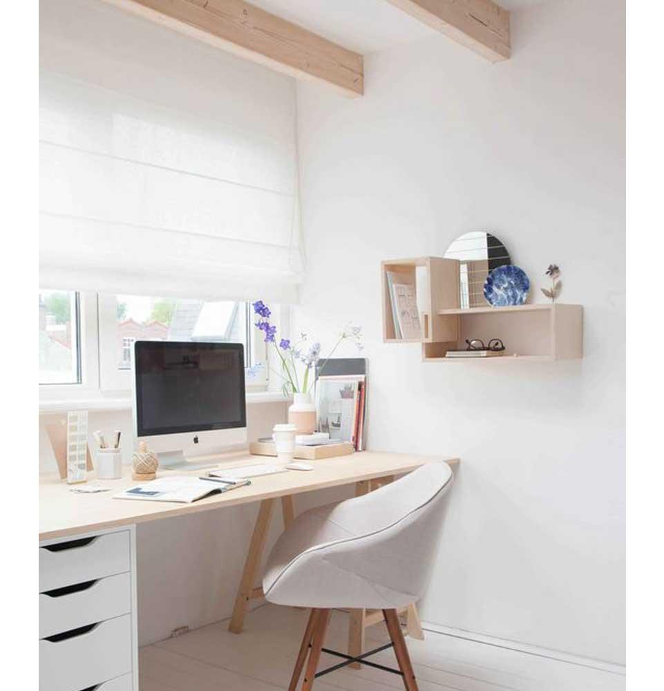 cortina store de lino para escritorio violeta decoraciones