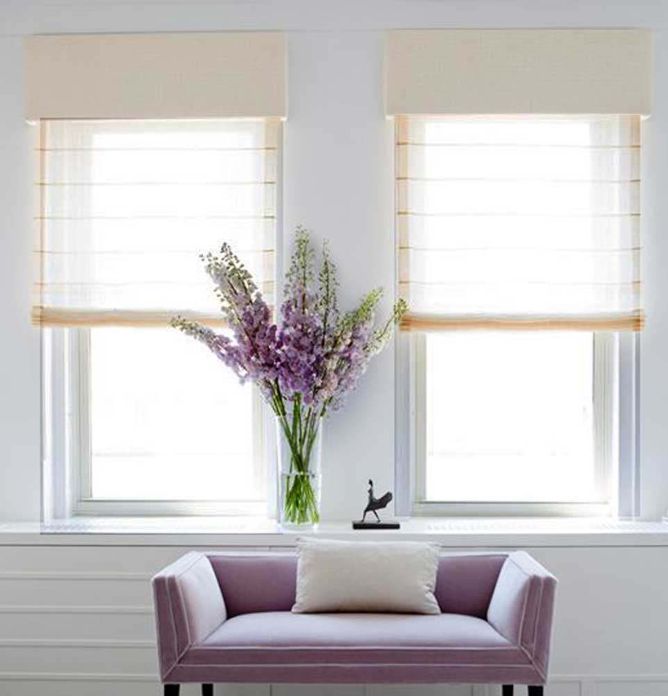 cortina store de lino violeta decoraciones