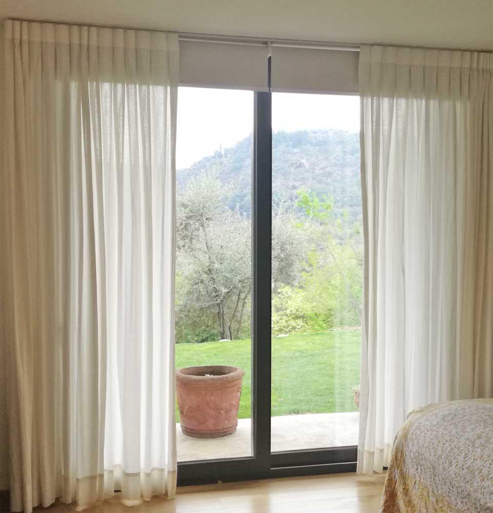 cortina tradicional lino blanco 1 para dormitorio violeta decoraciones