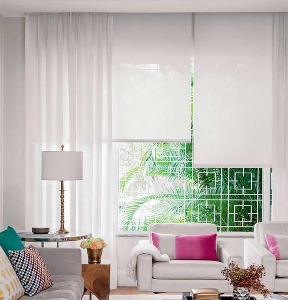 cortina tradicional lino blanco para living violeta decoraciones