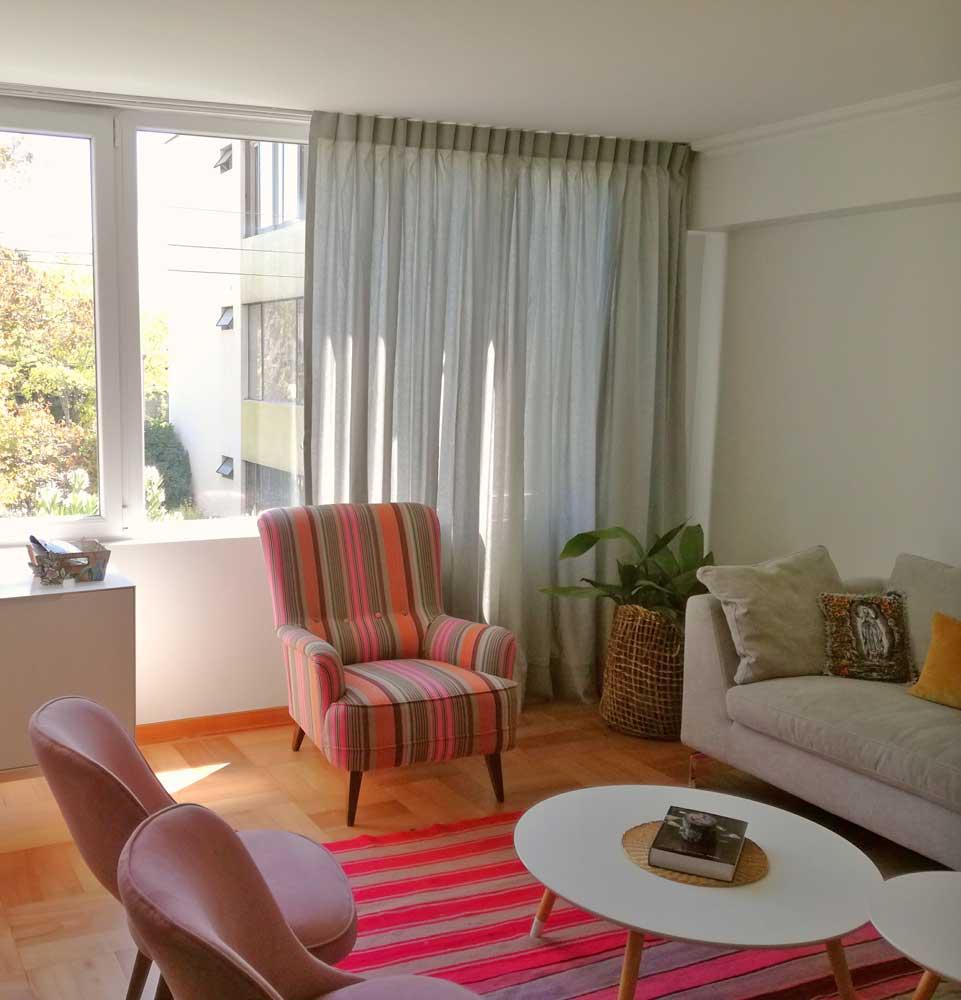 cortina tradicional lino gris para living violeta decoraciones